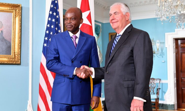 Handshake between US Secretary of State Tillerson and Togolese Minister of Foreign Affairs Robert Dussey