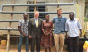 Family photo Ambassador David Gilmour, Scott Massey founder of Heliponix and Mandela Washington Fellowship